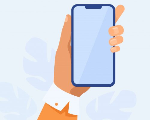 Human hand holding mobile phone. Person using apps on smartphone flat vector illustration. Technology concept for banner, website design or landing web page
