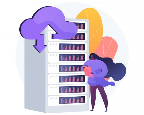 Hosting processor. Emergency memory store. Domain cluster, emergency backup, upload files. Technical room equipment. Accessible datacenter. Vector isolated concept metaphor illustration.